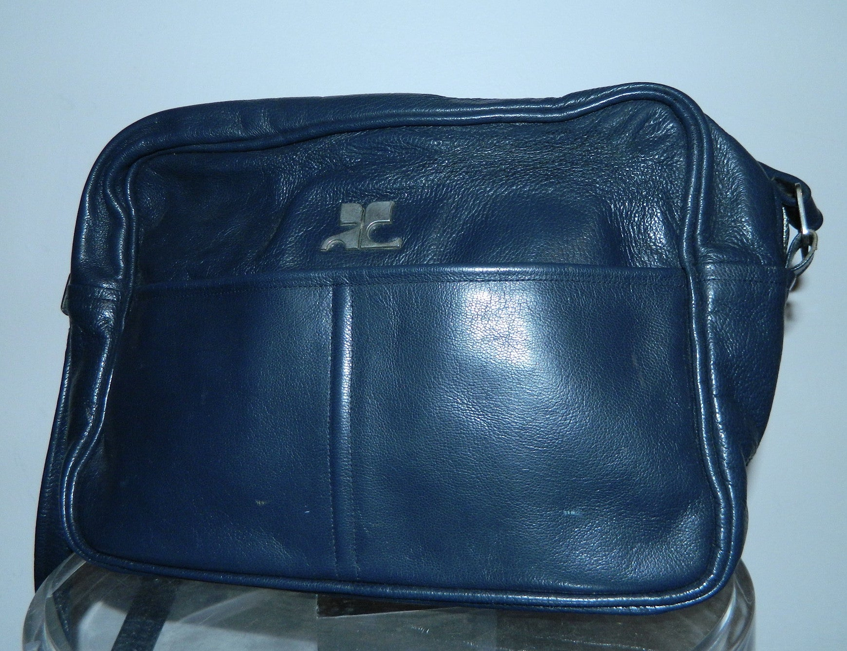 Courrèges leather camera bag / vintage 1960s dark blue COURREGES cross- body purse