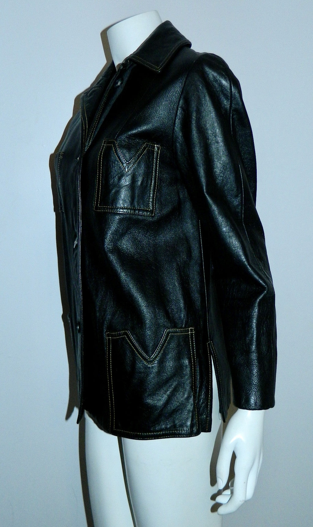 MOD vintage 1960s black leather jacket - contrast stitch S / M
