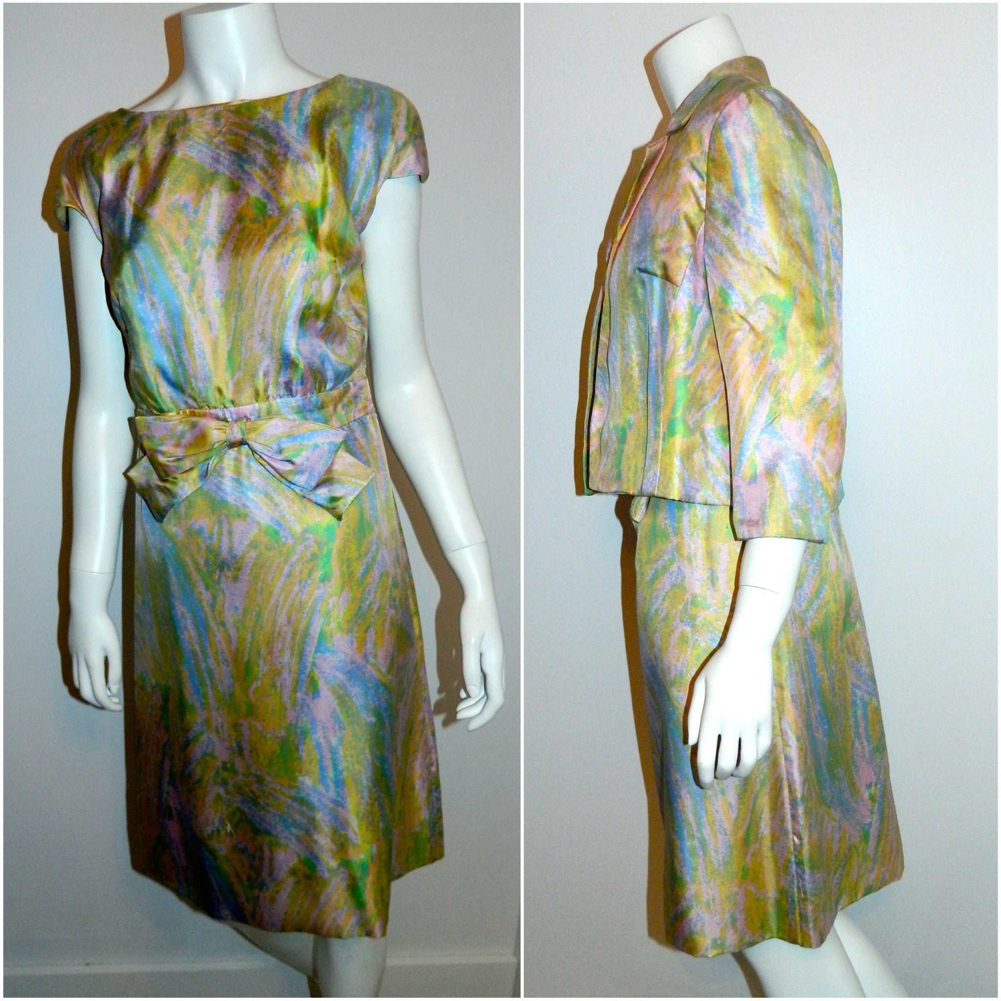 vintage 1960s pastel silk Miss Bergdorf dress jacket suit / impressionist Spring blooms watercolor XS