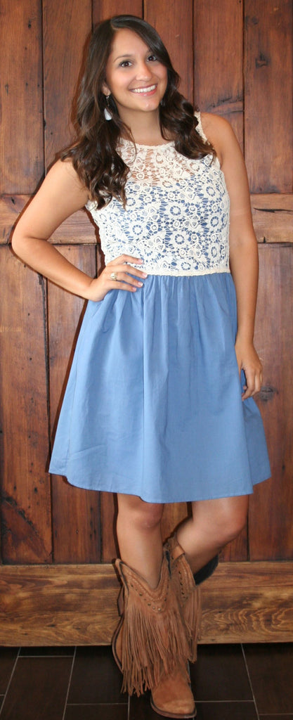 IVORY AND BLUE LACE DRESS
