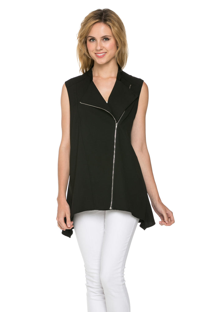 BLACK FRONT DRAPE VEST WITH ZIPPER