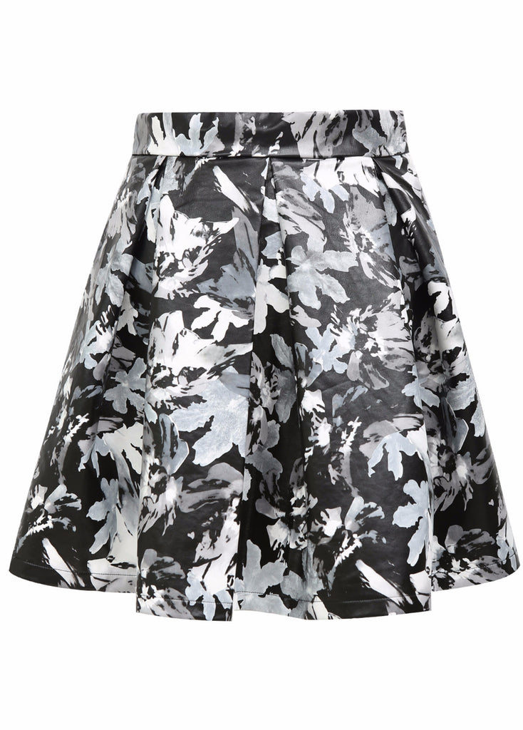 ROMANCE FLORAL SKIRT- FAUX LEATHER