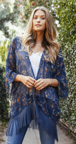 FLORAL KIMONO - Available in Ivory and Blue