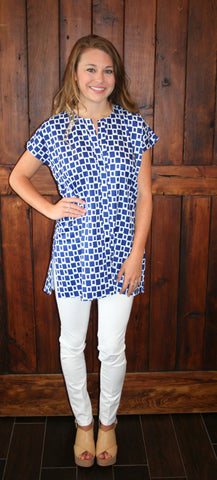 NAVY SQUARE TUNIC