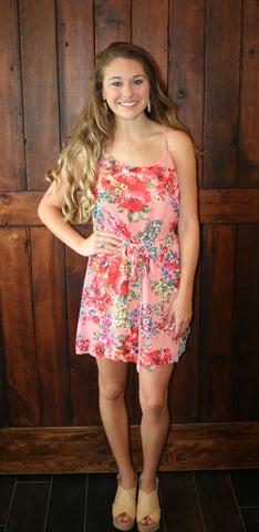 CORAL FLORAL DRESS WITH TIE