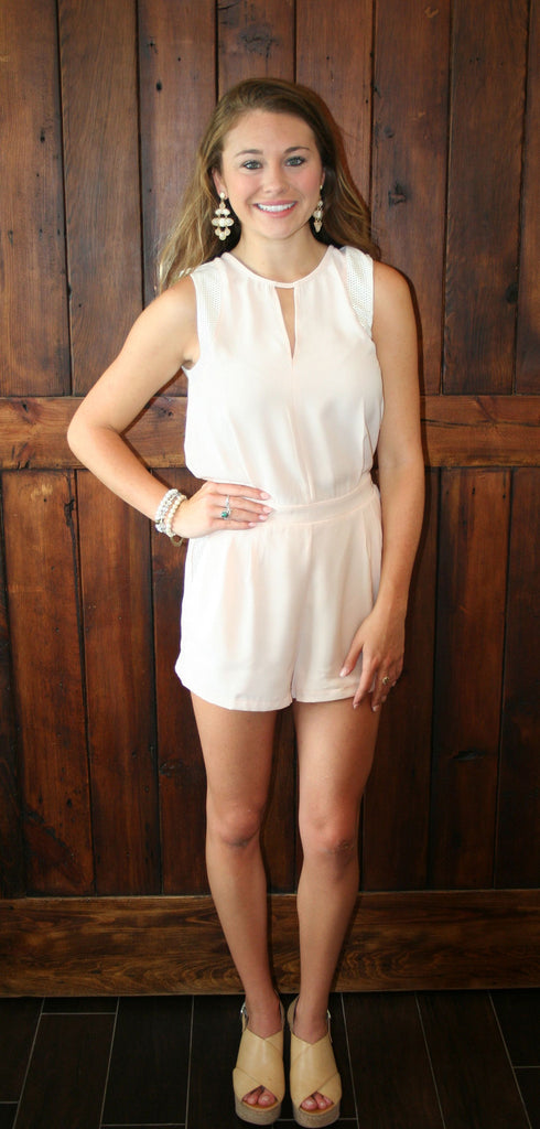 BLUSH ROMPER WITH WHITE JERSEY ACCENTS