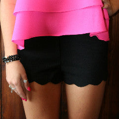 BLACK SCALLOPED SHORTS