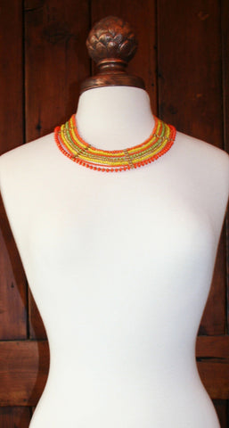 Orange, Green, Yellow Beaded Necklace