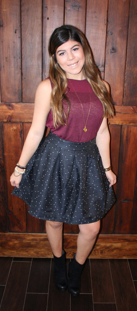 POSSIBLY PERFECT POLKA DOT SKIRT