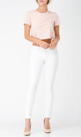 High Waist Skinny White Jean