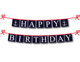 nautical happy birthday party banner, printable birthday banner