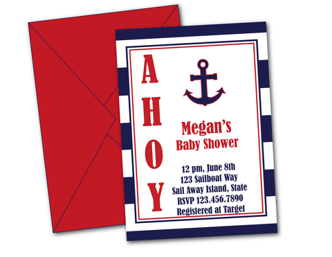 printable and emailable nautical baby shower invitations - Celebrating Together