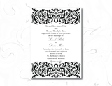 decorative swirl printable wedding invitation