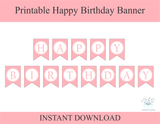 Pink printable happy birthday banner