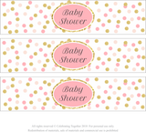 pink and gold glitter confetti baby shower water bottle labels