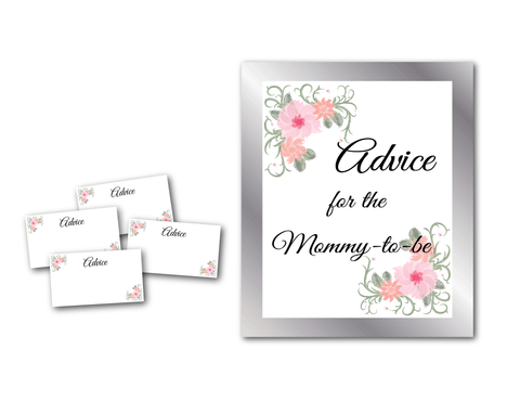 Advice for the mommy to be sign and advice cards - Celebrating Together