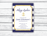 Ahoy ladies nautical bridal shower invitations, printable invitation