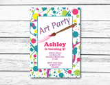 art party printable birthday party invitations