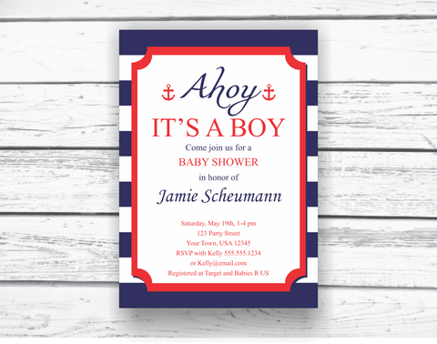 Printable Nautical Baby Shower Invitation - DIY Editable Invitation