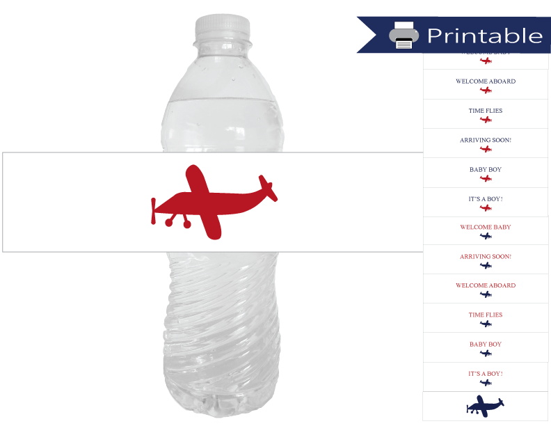 plane baby shower water bottle labels printable - Celebrating Together