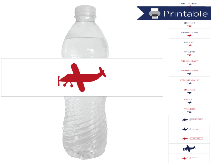 printable airplane baby shower water bottle labels - Celebrating Together