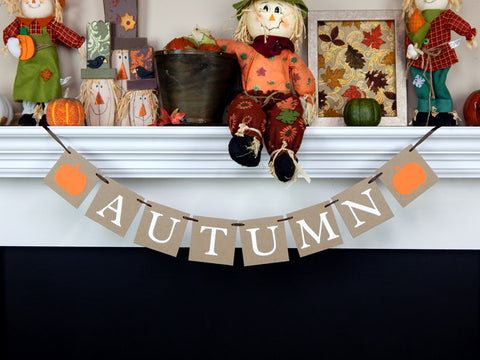 autumn banner with pumpkins - Fall home decor - Celebrating Together