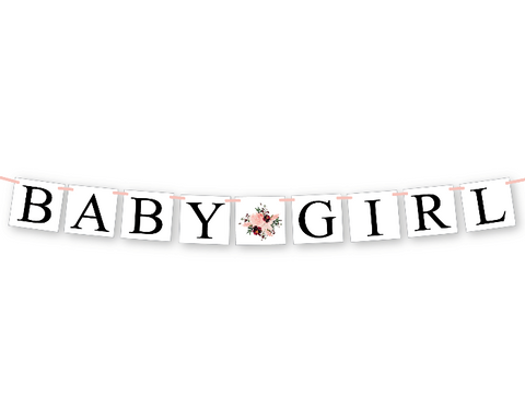 coral watercolor flower baby girl banner - floral baby shower decorations - Celebrating Together