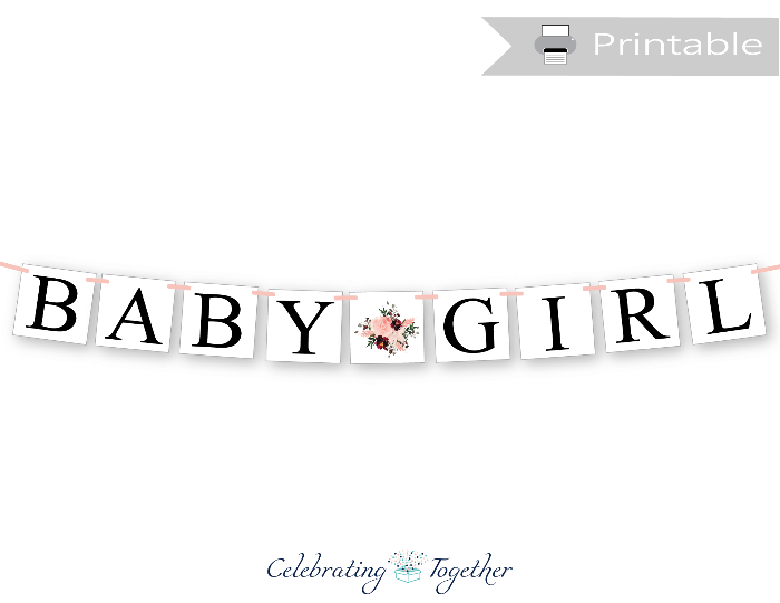 blush watercolor flower baby girl banner - greenery baby shower decorations - Celebrating Together