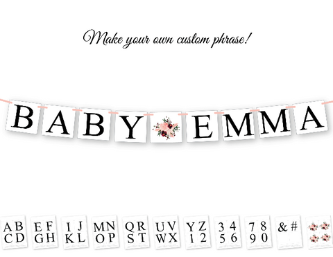 diy baby name banner - printable floral baby shower decor - Celebrating Together