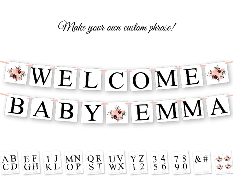 custom DIY baby shower banner - personlized name banner for baby shower - Celebrating Together