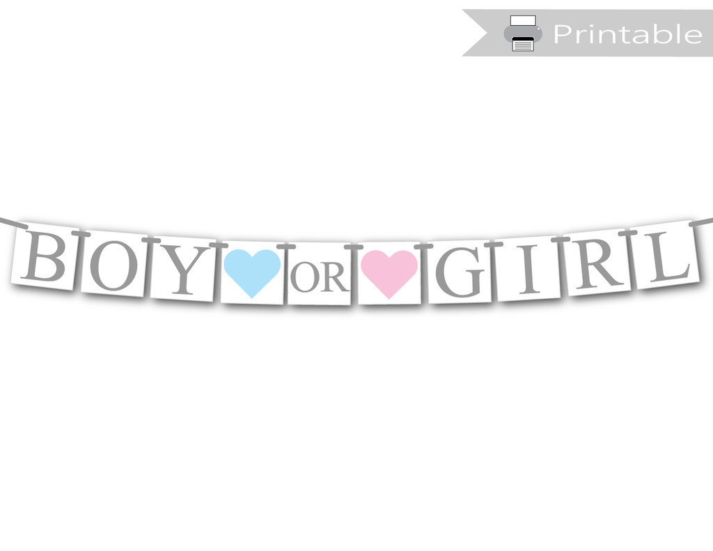 graphic about Printable Banner titled Printable Boy or Woman Banner