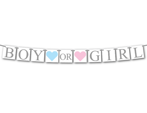boy or girl baby shower banner - gender reveal party decor - Celebrating Together