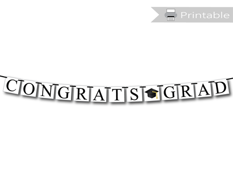 congrats grad banner printable with graduation cap accent - Celebrating Together