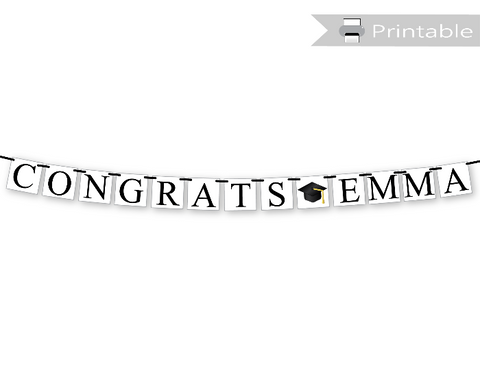 printable congrats banner with personalized name - Celebrating Together