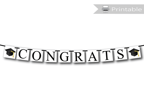 printable congrats banner graduation party decoration - Celebrating Together