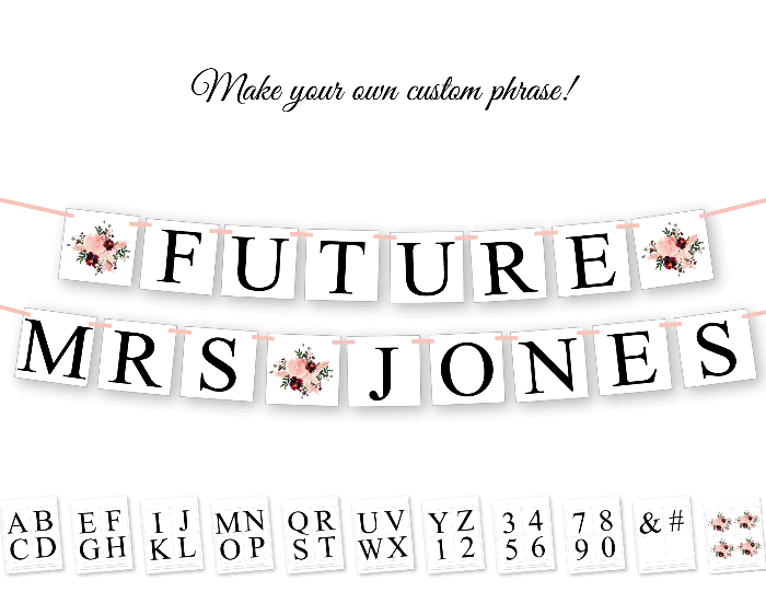 DIY make your own custom phrase banner - printable watercolor floral bridal shower banner - Celebrating Together