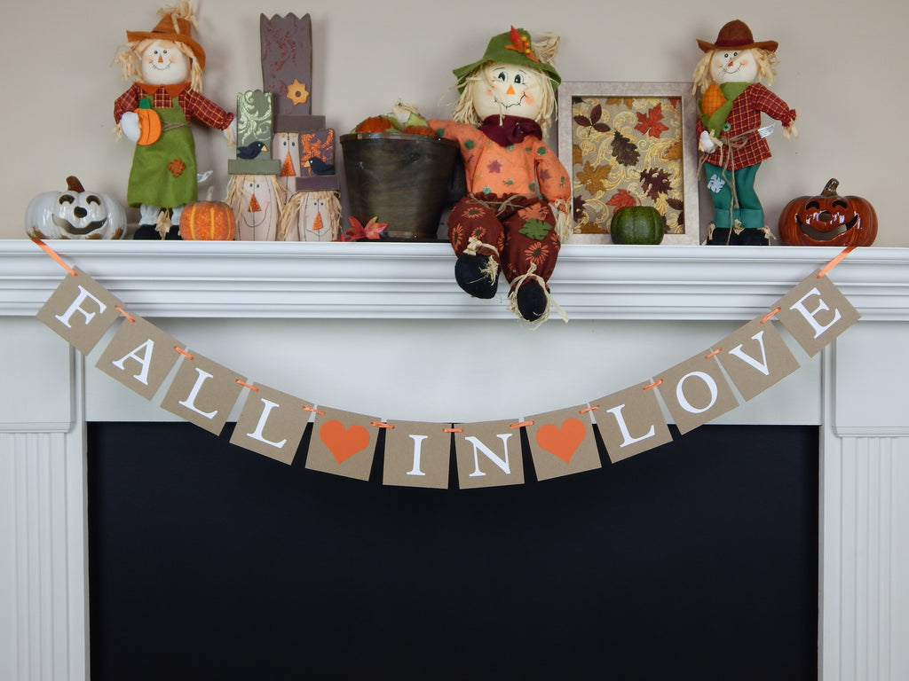 Fall in love banner - Autumn wedding decoration - Celebrating Together
