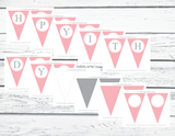 DIY pink girls happy 1st birthday pennant banner - Celebrating Together