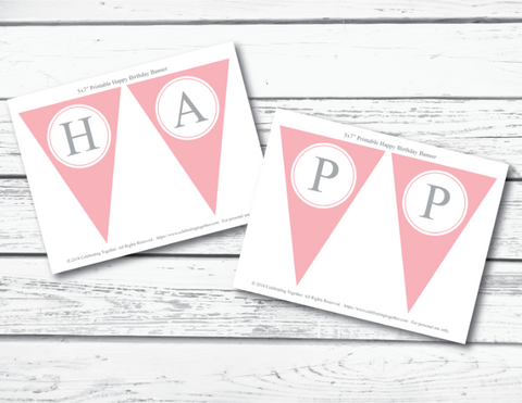 Pink and Grey Girls Printable Happy Birthday Pennant Banner
