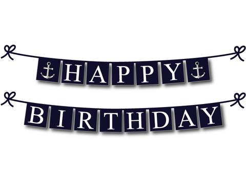 picture about Birthday Banner Printable called Printable Nautical Joyful Birthday Banner with Anchors