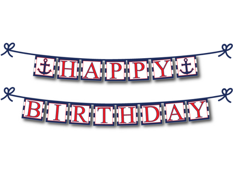 printable anchor happy birthday banner - Celebrating Together