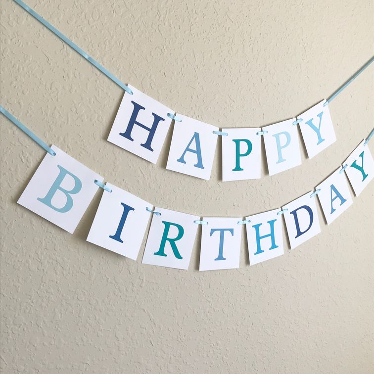 shades of blue happy birthday banner - boys birthday party decoration - Celebrating Together