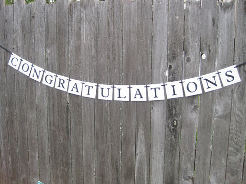 Printable congratulations banner - DIY party decoration - Celebrating Together