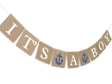 It's A Boy Banner, Nautical Theme with Anchors
