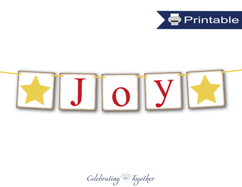 Rustic joy banner printable - Celebrating Together
