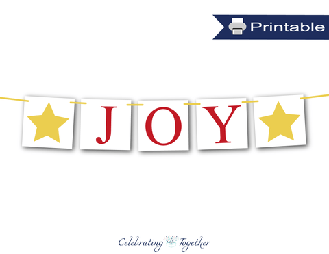 Red and Gold Printable Joy Banner