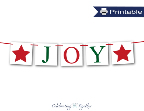 red and printable joy banner - Celebrating Together