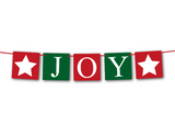 printable red and green joy banner with stars - Celebrating Together