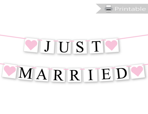 printable just married banner - diy wedding decorations - Celebrating Together