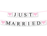 diy just married banner - printable wedding decor - Celebrating Together